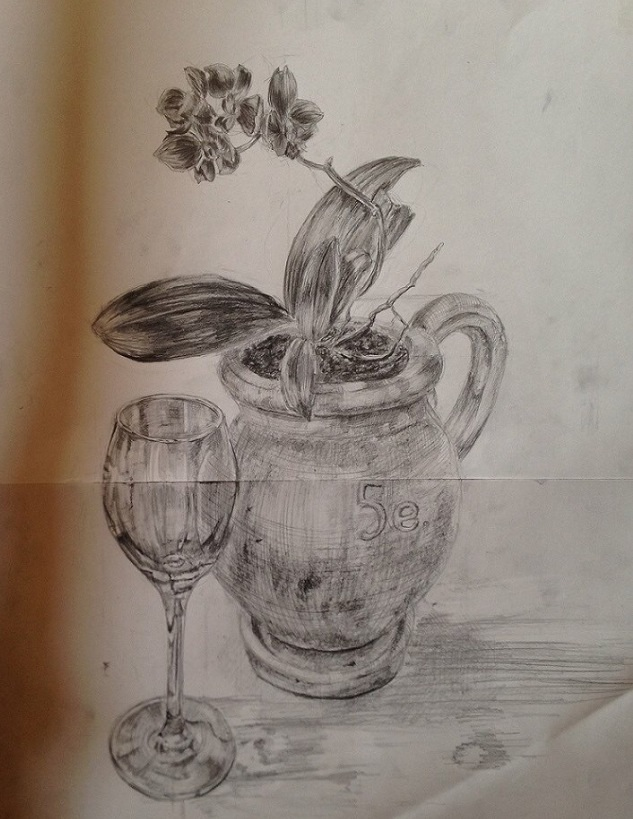 Re: 花と植木鉢とワイングラス