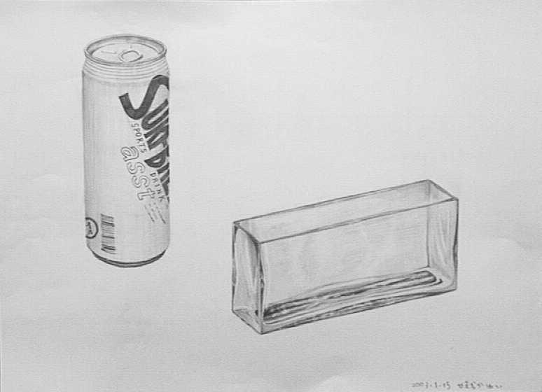 デッサン(缶とガラスの状差し)