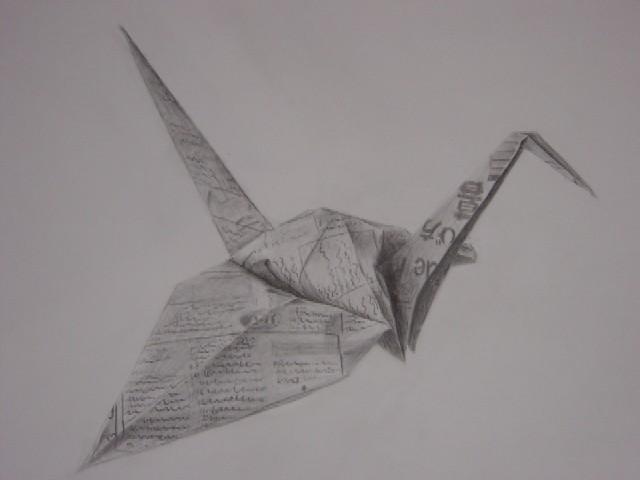新聞紙で折った鶴です。