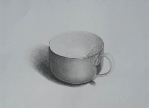 色つき陶器製コップ