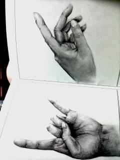 自分の手です!