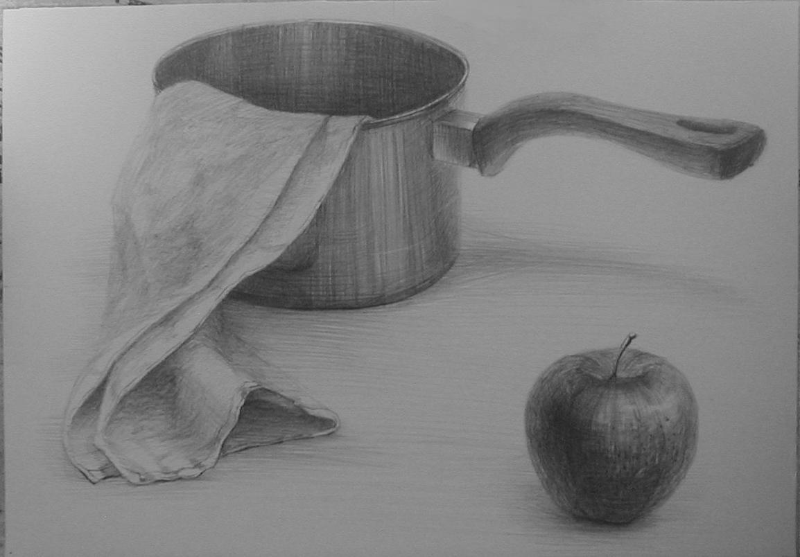 金属鍋・タオル・林檎