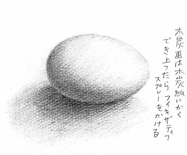 【参考作品】風間完さんの卵(木炭画)