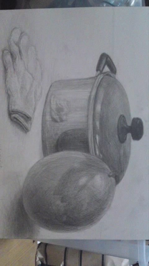 鍋、風船、軍手(模写)