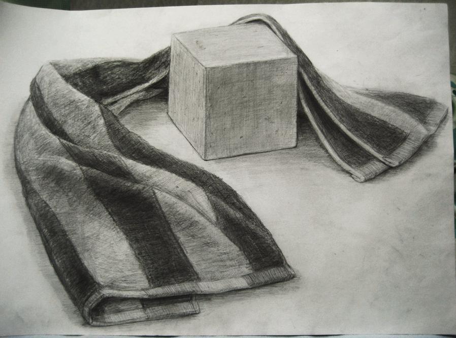 タオルと発泡スチロールの立方体