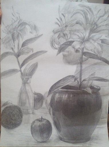 壺とゆりとリンゴのビンと石膏