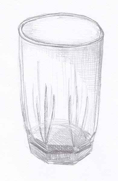 ガラスコップのスケッチ