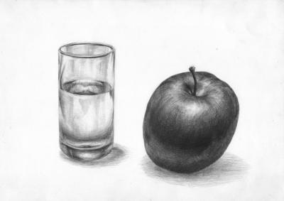 ガラスコップと林檎