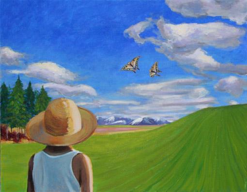 3枚の写真から描いたアクリル画