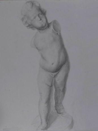 鉛筆デッサン:幼児像