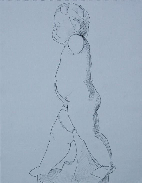 ペン画:幼児像