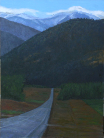 夜明けの山道