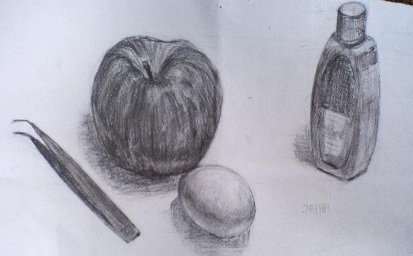 りんご・卵・ピンセット・プラスチックの容器