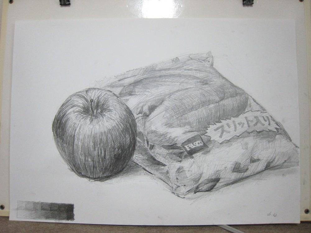 リンゴとスリット付きパン入りの袋