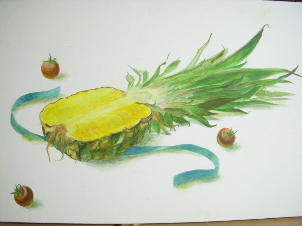 パイナップル・プチトマト・水色のリボン