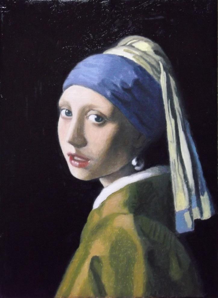 真珠の耳飾りの少女の模写