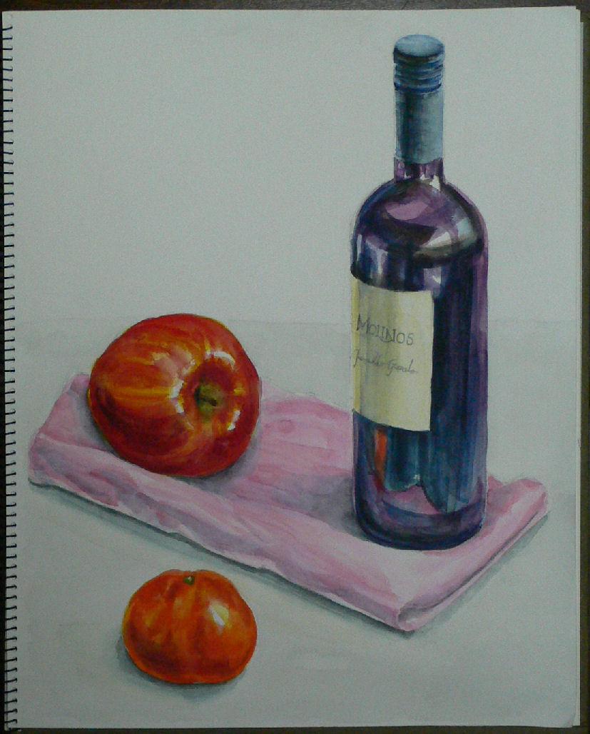 ワインボトルと果物