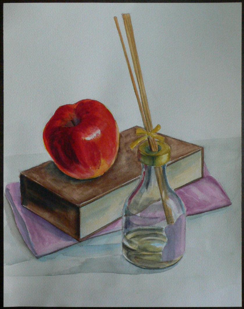アロマ瓶と箱とりんんご