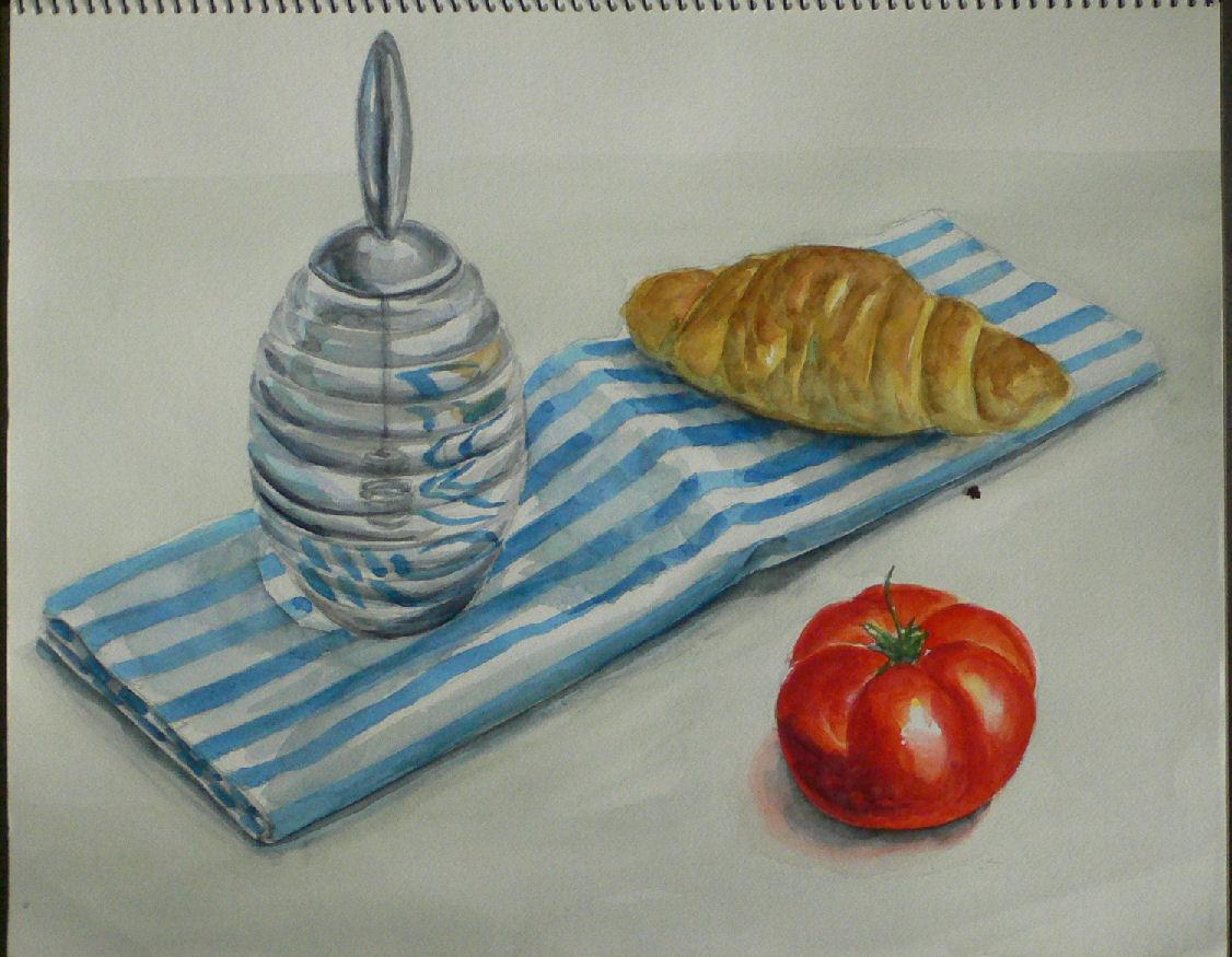 ガラス容器とパンとトマト