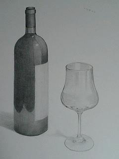 ワイン瓶+グラス