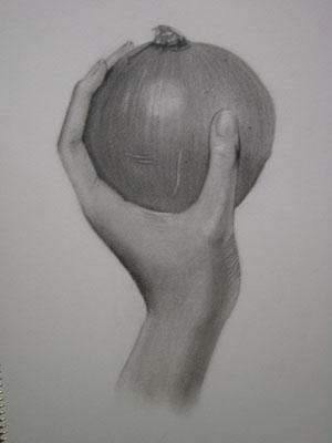 玉ねぎを持った手