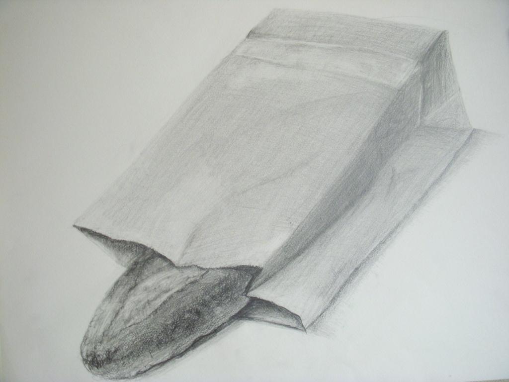 フランスパン、薄茶色の紙袋