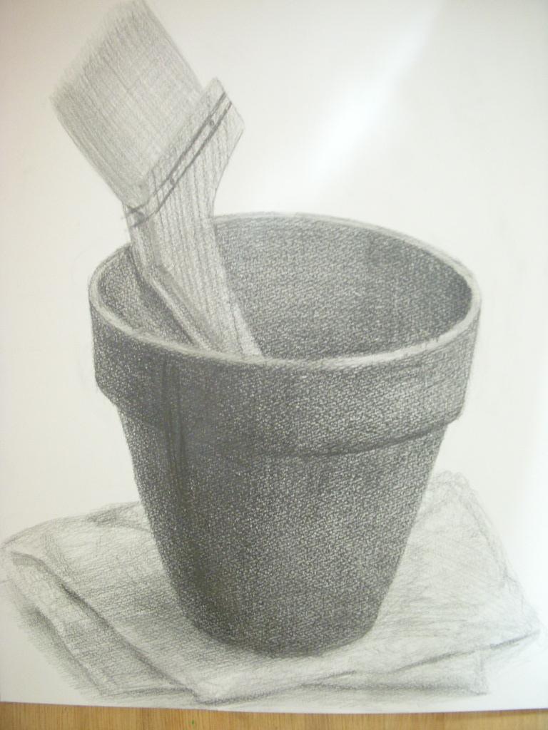 植木鉢、刷毛、雑巾