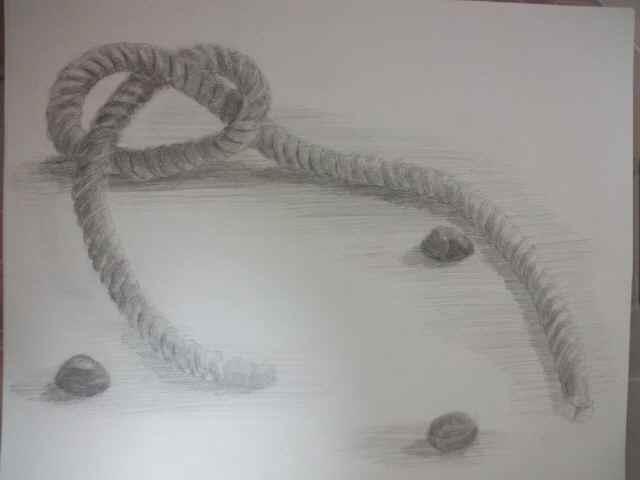 ロープと石
