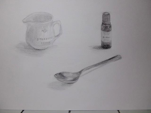 ミルクピッチャー(陶器製)&スプーン&小さいビン