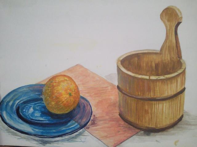 桶と蜜柑と皿