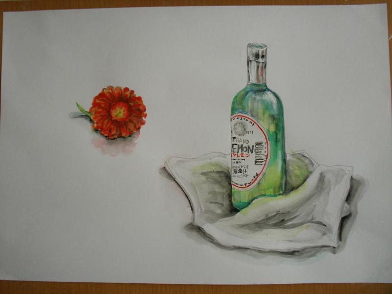 瓶とガーベラと雑巾