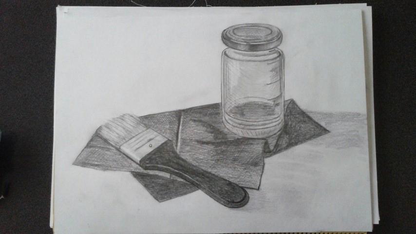 瓶、ハケ、黒い布
