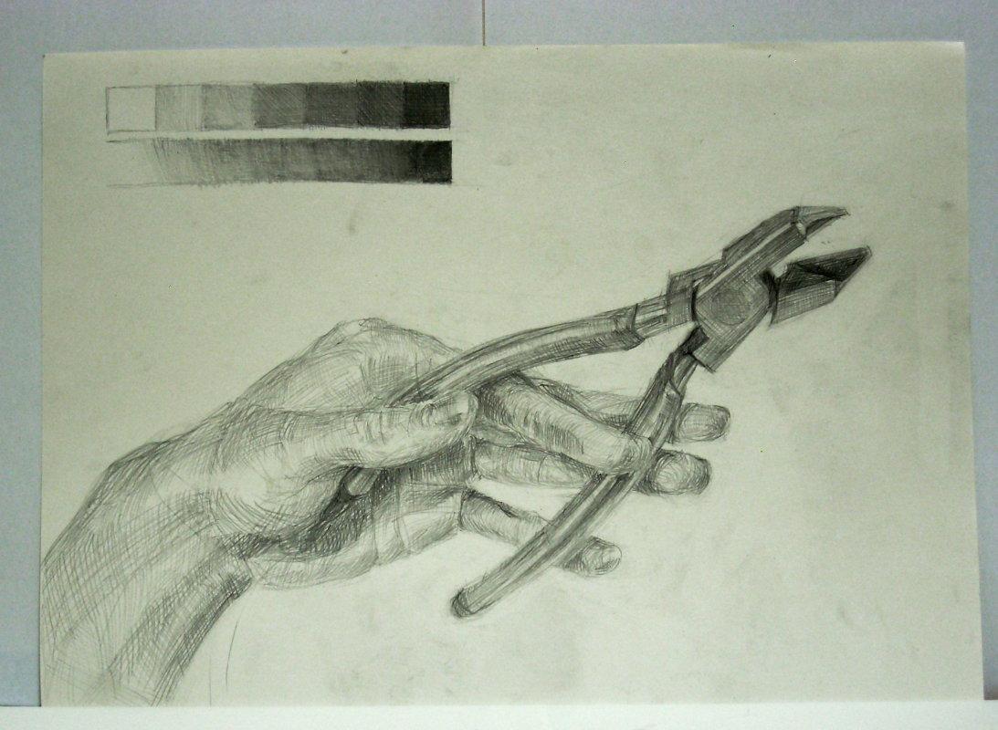 ニッパーを持つ手
