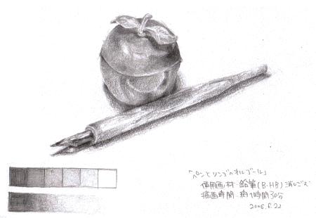 ペンとリンゴの小物入れ