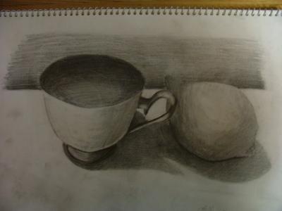 コーヒーカップとレモン