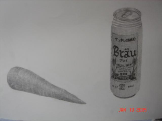 ビール缶とにんじん